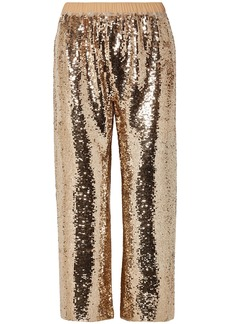 Figue Woman Verushka Cropped Sequined Tulle Pants Gold