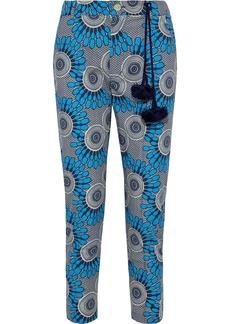 Figue Woman Zulu Cropped Printed Cotton-voile Slim-leg Pants Azure
