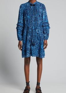 Figue Zellie Pleated-Ruffle Bib Dress