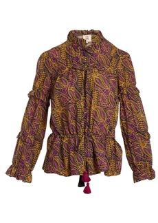 Figue Zola paisley-print ruffle-trim cotton-blend top