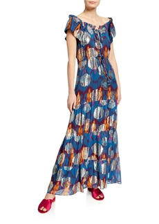 Figue Gianna Ikat Metallic Ruffle Cap-Sleeve Maxi Dress