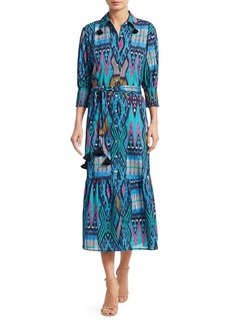 Figue Indiana Ikat Tassel-Trim Shirtdress