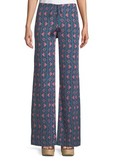 Figue Ipanema Floral-Stripe Split Wide-Leg Silk Pull-On Pants