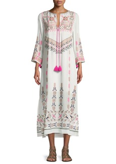 Figue Josefina Split-Neck 3/4-Sleeve Embroidered Kaftan Dress