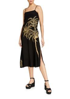 Figue Olatz Golden Palm-Embroidered Slip Dress