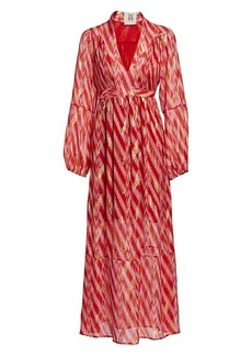 Figue Starlight Ikat Silk-Blend Wrap Dress