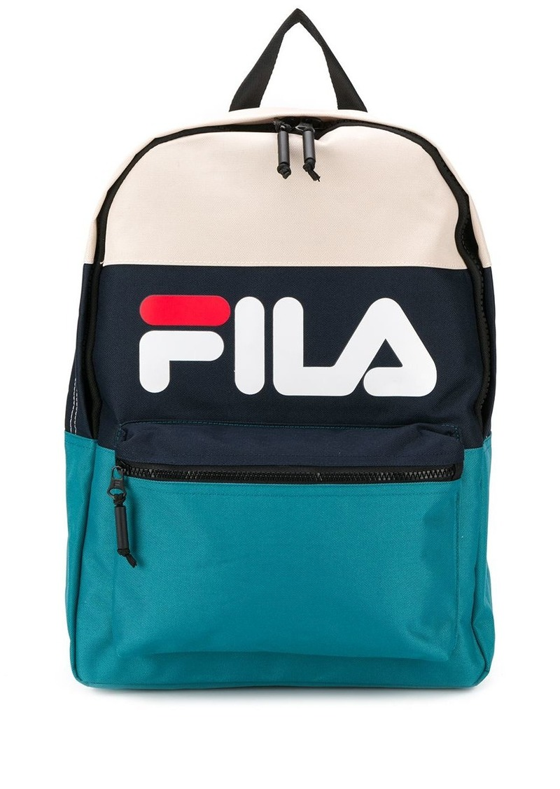 Fila colour block logo print backpack