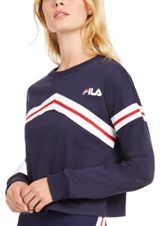 Fila Aja Cotton Zigzag Long-Sleeve Cropped T-Shirt