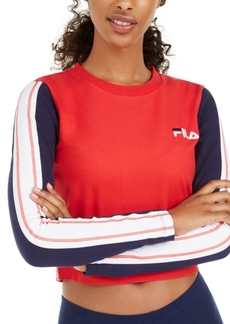 Fila Anouk Striped-Sleeve Cropped T-Shirt