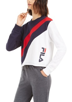 Fila Ayeka Colorblocked Long-Sleeve Cropped T-Shirt