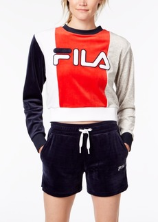 Fila Colorblocked Velour Cropped Sweatshirt