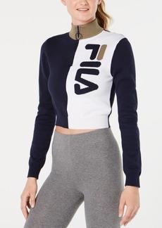 Fila Cotton High-Neck Quarter-Zip Sweater