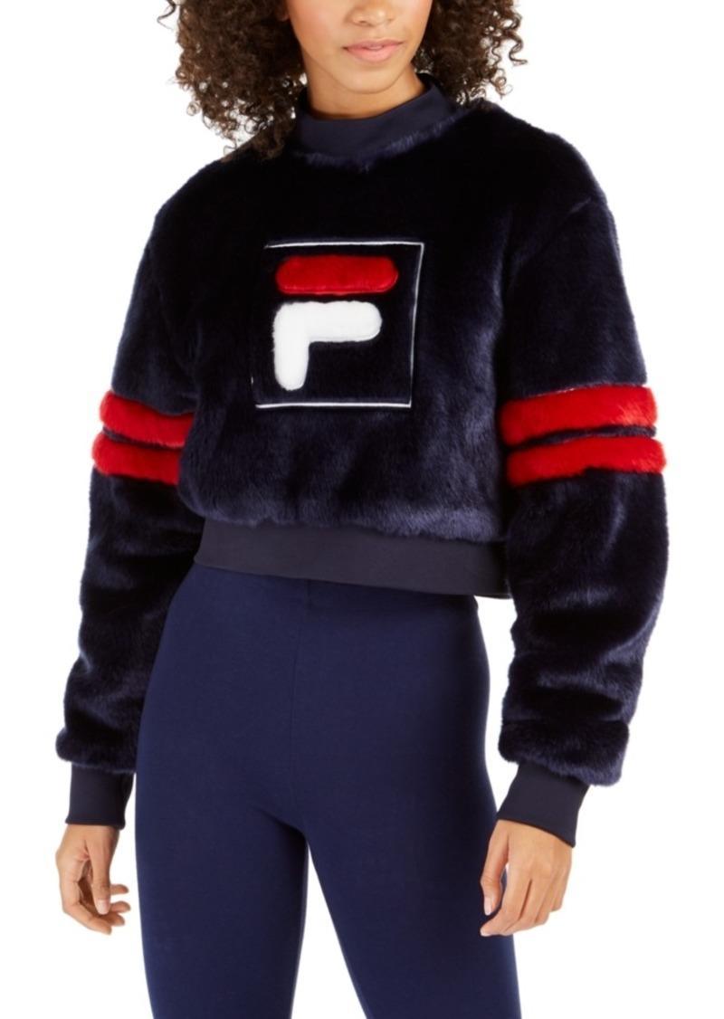 Fila Cristabel Cropped Faux-Fur Sweatshirt