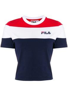 Fila cropped stripe print T-shirt - Black