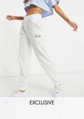 Fila small logo oversized sweatpants in white exclusive to ASOS