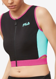 Fila Tally Colorblocked Zipped Cropped Tank Top