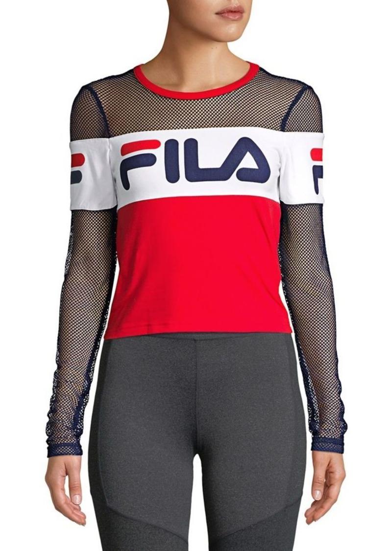 Fila FILA Tara Mesh-Sleeve Cropped Top  24372c85c
