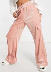 Fila velour cargo pant in pink