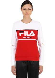Fila Logo Color Block Cutout Sweatshirt