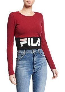 Fila Maria Colorblocked Logo Printed Cropped Shirt