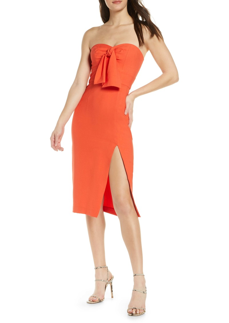 findersKEEPERS Finders Keepers Chiquita Tie Front Strapless Sheath Dress