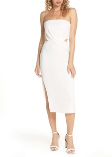 findersKEEPERS Finders Keepers Elena Strapless Plissè Dress