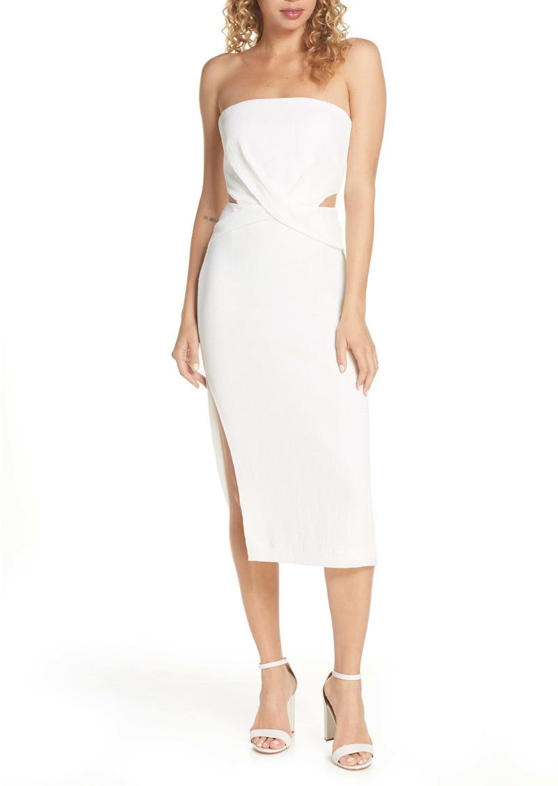 findersKEEPERS Finders Keepers Elena Strapless Plissè Dress