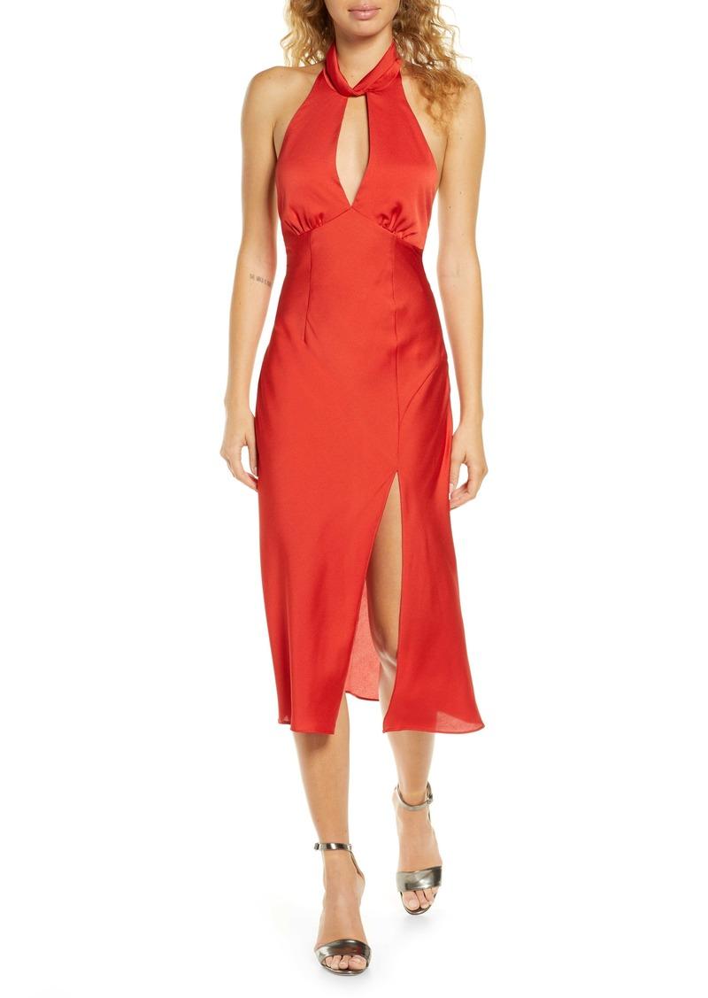 findersKEEPERS Finders Keepers Gabriella Open Back Satin Midi Dress