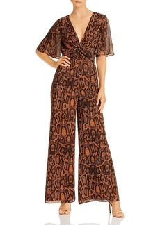 findersKEEPERS Finders Keepers Lana Flutter Sleeve Snakeskin Print Jumpsuit