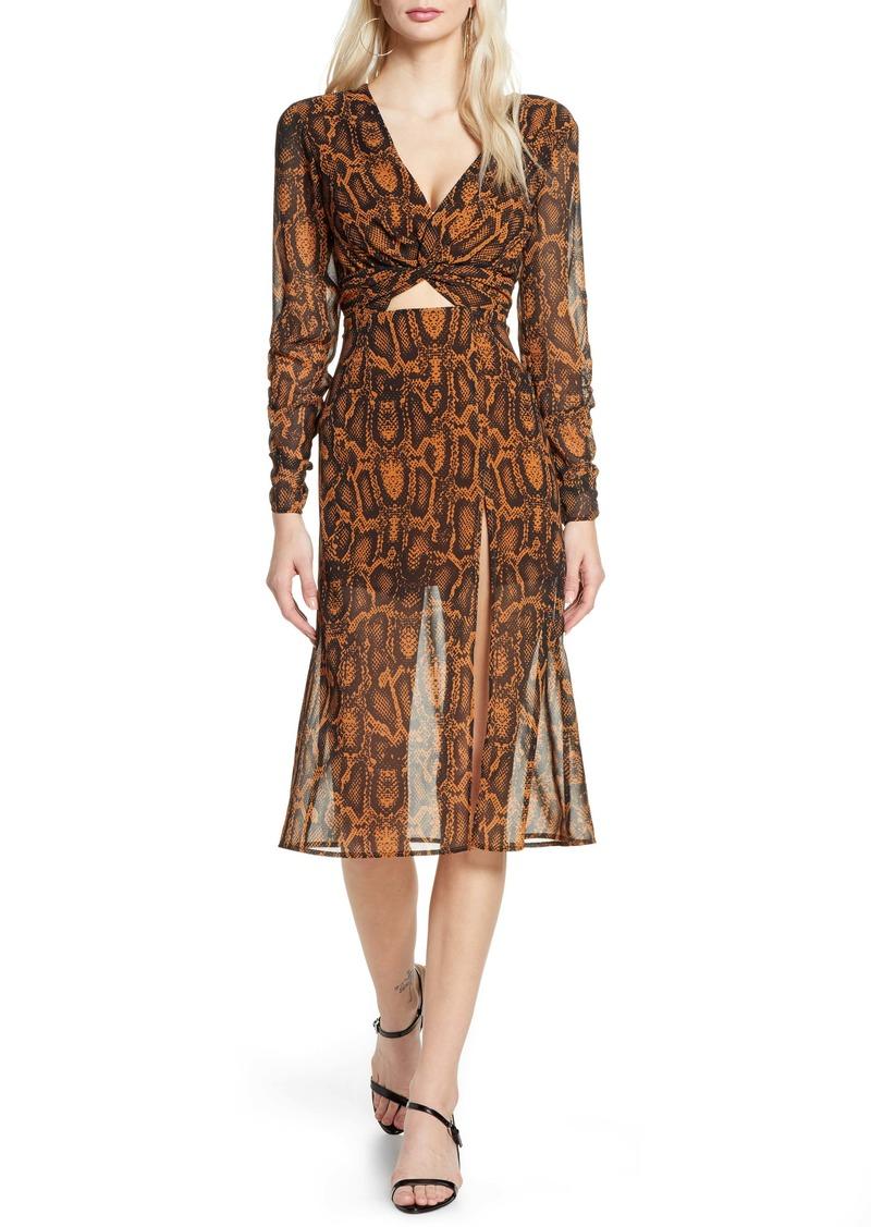findersKEEPERS Finders Keepers Lana Snakeskin Print Long Sleeve Dress