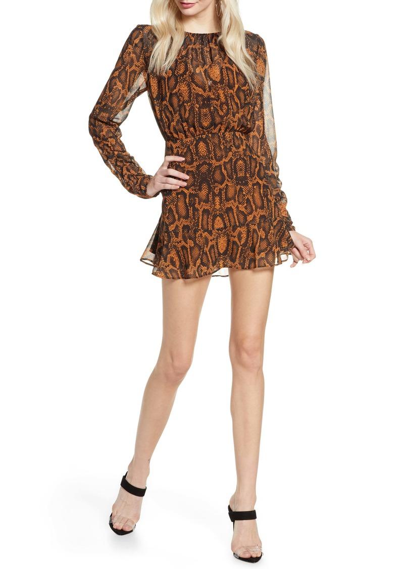 findersKEEPERS Finders Keepers Lana Snakeskin Print Long Sleeve Minidress