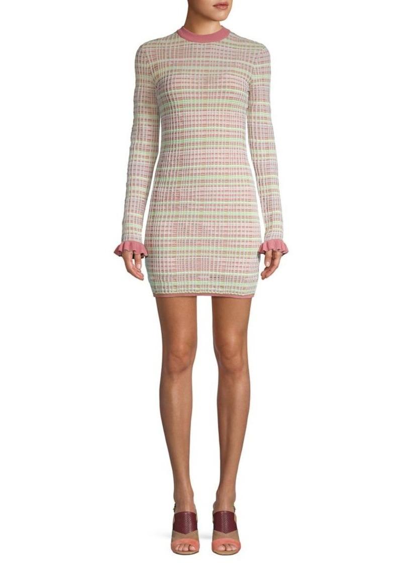 Finders Keepers Lattice-Knit Ruffle-Sleeve Mini Dress