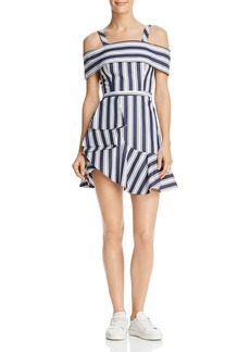 findersKEEPERS Finders Keepers Long Shot Striped Cold-Shoulder Mini Dress