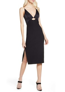 findersKEEPERS Finders Keepers Paradise Cutout Detail Satin & Crepe Sheath Dress
