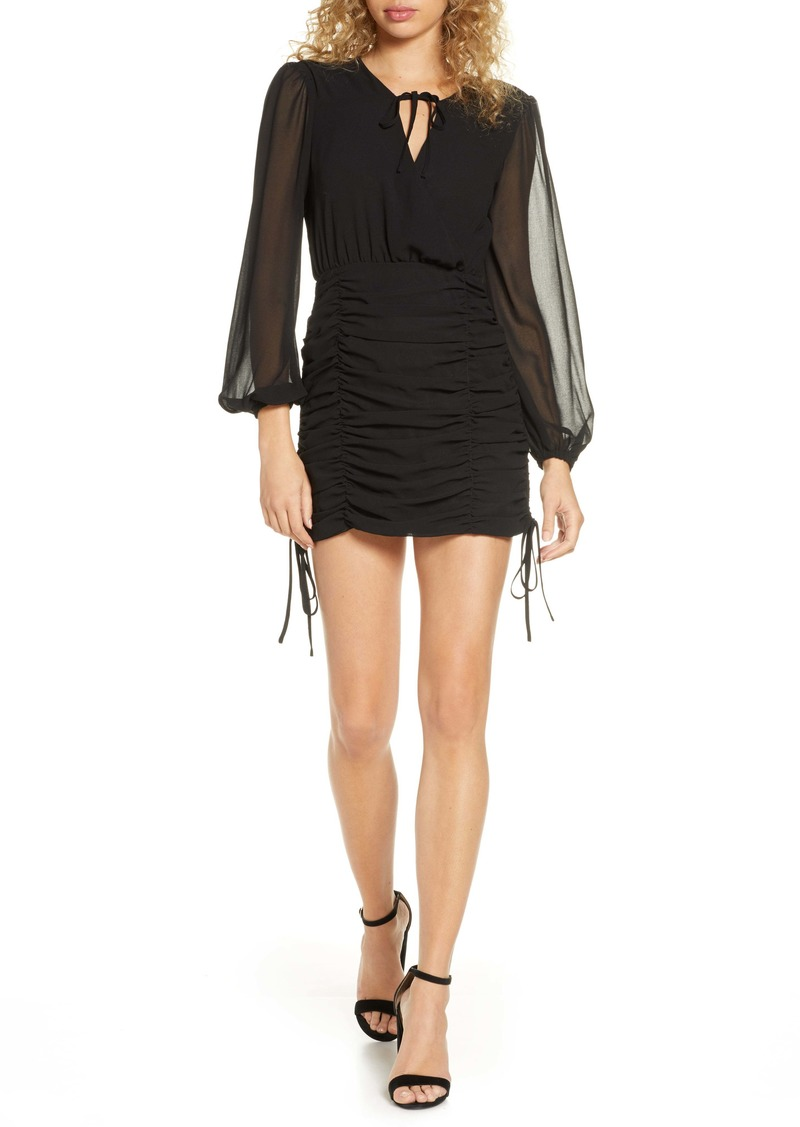 findersKEEPERS Finders Keepers Pia Ruched Long Sleeve Georgette Minidress