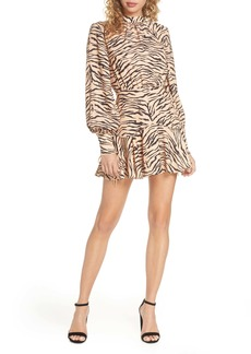 findersKEEPERS Finders Keepers Romy Tiger Print Long Sleeve Minidress