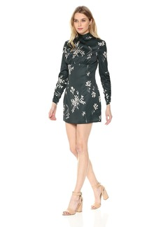 findersKEEPERS Women's Afterglow Floral Long Sleeve Mockneck Open-Back Mini Dress  L
