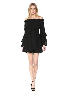 findersKEEPERS Women's Alive Off The Shoulder Ruffle Sleeve Short Dress  M