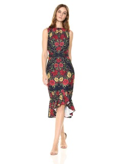 findersKEEPERS Women's Arcadia Gathered Neck Sleeveless Midi Dress Ruffle Hem  S