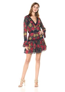 findersKEEPERS Women's Arcadia Long Bell Sleeve Ruffle V Neck Pleated Mini Dress  M