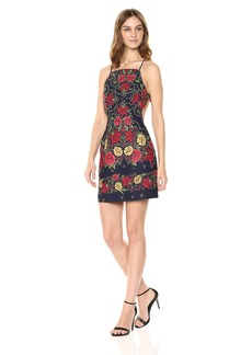 findersKEEPERS Women's Arcadia Sleeveless Fitted Square Neck Floral Mini Dress Navy M