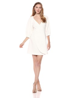findersKEEPERS Women's Bridges 3/4 Sleeve Wrap Mini Dress  M