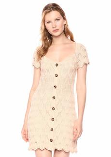 findersKEEPERS Women's Coconut Cap Sleeve Scallop Knit Buttondown Short Dress  l