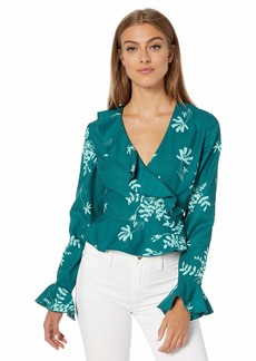 findersKEEPERS Women's Cosmos Long Sleeve Ruffle Wrap Top  S