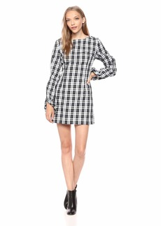 findersKEEPERS Women's Downtown Plaid Balloon Sleeve Mini Dress  S