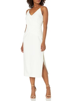 findersKEEPERS Women's Dreams Sleeveless Criss-Cross Straight Midi Sheath Dress  m