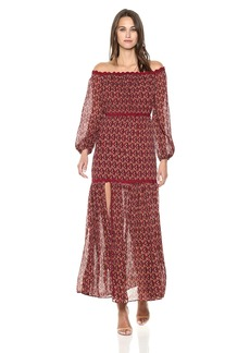 findersKEEPERS Women's Drift Off the Shoulder Printed Boho Maxi Gown Dress  S