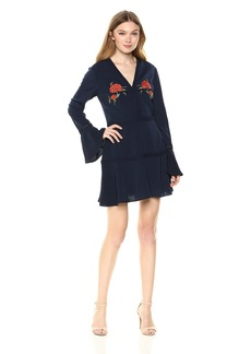 findersKEEPERS Women's Etude Embroidered Long Sleeve Mini Dress  M