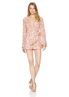 findersKEEPERS Women's Faded V Neck Long Bell Sleeve Romper  S