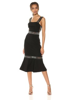findersKEEPERS Women's Firelight Strappy Sleeveless Fitted Midi Dress Ruffle Hem  L